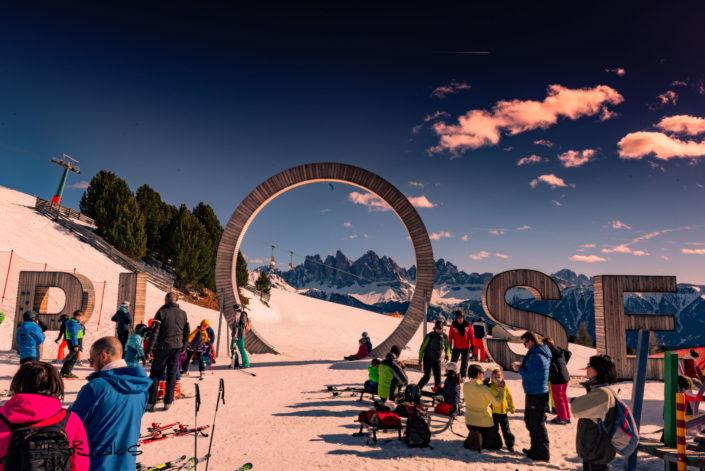Werbung beim Skifahren